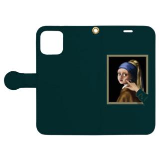 イラッとする真珠の耳飾りの少女 手帳型スマホケース (濃いグリーン) Book-Style Smartphone Case