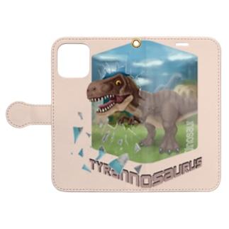 ティラノサウルス 手帳型スマホケース (薄いピンク) Book-Style Smartphone Case