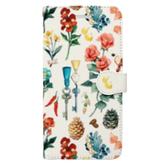 「花と細々」iphone6Plus-6sPlus-7Plus-8Plus用 Book-style smartphone case