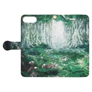 【骨と植物】森とウサギ Book-style smartphone case