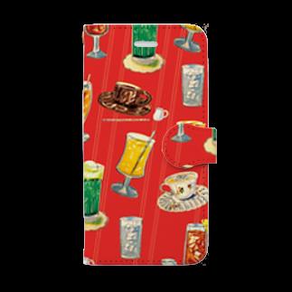 さぶの喫茶店の飲み物 Book style smartphone case