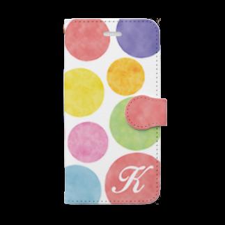 Ploughの7カラー水玉 イニシャルK Book-style smartphone case