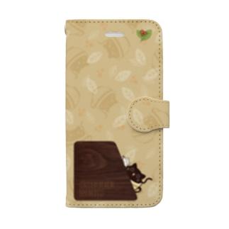 ひょっこりコーヒーねこ葉っぱ付き Book-style smartphone case