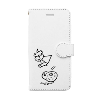 GAJUMARUのソフトクリームマンとピーナッチの跳び箱 Book-style smartphone case