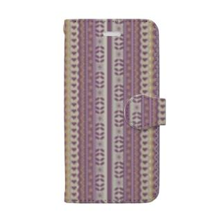 民族衣装の乙女スマホケース 刺繍 レース ヴィンテージ クラシック アンティーク フラワー  フラワー 花柄 ハート ピンク パープル  紫 Book-style smartphone case