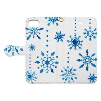 雪の結晶手帳型iPhoneケース Book-style smartphone case