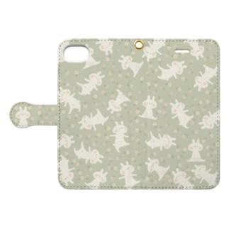 お花とうさぎ(ミント) Book-style smartphone case