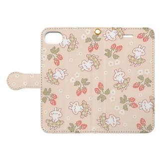 ナチュラルないちごとうさぎ Book-style smartphone case