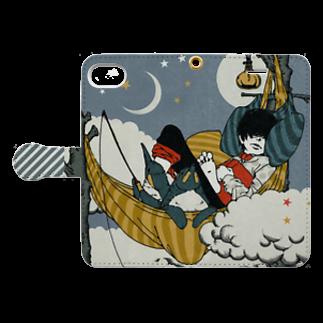 ミキワカコの月夜の太公望 Book style smartphone caseを開いた場合(外側)