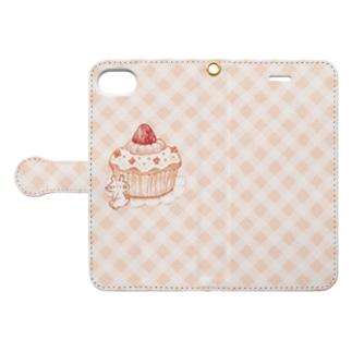 カップケーキとうさぎ(おおきい) Book style smartphone case