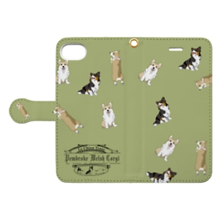 iphone 6 6s 7 8 用コーギー Book-style smartphone case