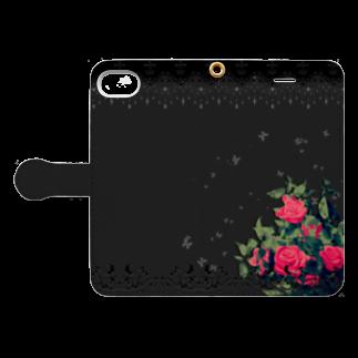 ねこのやしきの薔薇/黒 Book-style smartphone caseを開いた場合(外側)