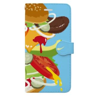 フォーリングハンバーガー 手帳型スマートフォンケース