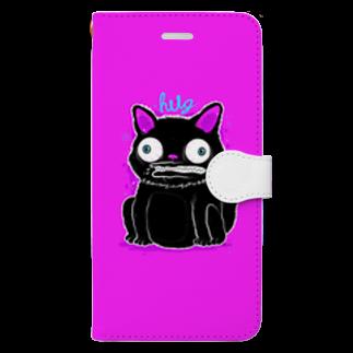 HUGオフォシャルショップのBlack Cat Hot Pink Book-style smartphone case