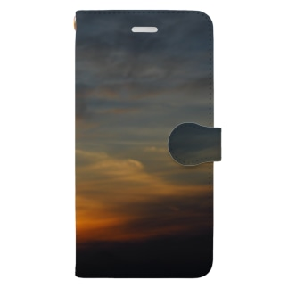 帰り道の夕日 Book-style smartphone case