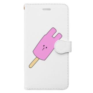 変形アイス うさぎ Book-style smartphone case