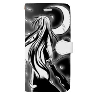 月下桜狼<gekkaourou> -禍ツ刻 Book-style smartphone case