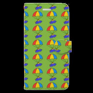 ポメ村ポメラニアンのパラシュートウミウシさん グリーン Book-style smartphone case