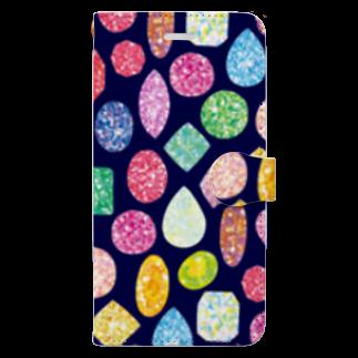 Coffret à bijouxの宝石のスマートフォンケース(ネイビー) 手帳型スマートフォンケース