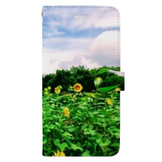 ひまわり畑と五重塔1 Book-style smartphone case