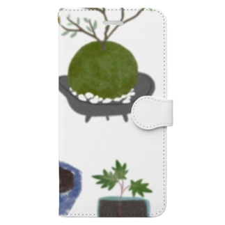 ボタニカル 鉢植えと苔玉 手帳型スマートフォンケース