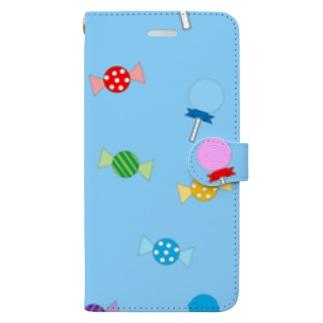 トリックオアトリートキャンディ(ブルー) 手帳型スマートフォンケース