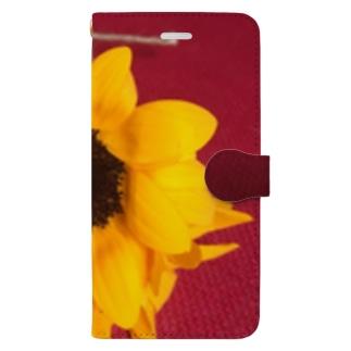 レッドカラージュート&フラワー2 Book-style smartphone case