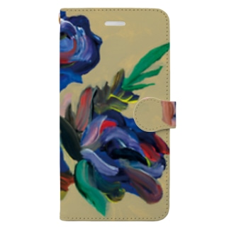 beige back flowers Book-style smartphone case