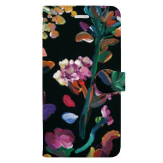 black flowers Book-style smartphone case