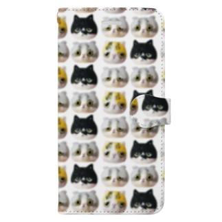 「羊毛フェルトな猫」 総柄 手帳型スマートフォンケース