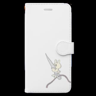 チーズ・ププのちくちくお裁縫ウサギ Book-style smartphone case