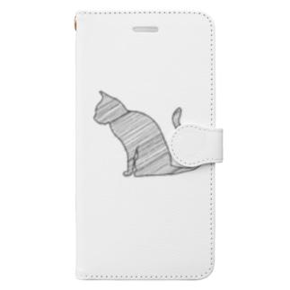 線の猫 Book-style smartphone case
