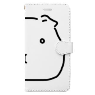 -END-のぽったりモルモット 黒線・透過Ver. Book-style smartphone case