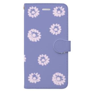 くすみブルーの花柄 Book-style smartphone case