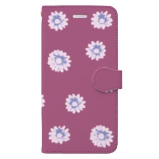 ボルドーのおしゃれな花柄 Book-style smartphone case