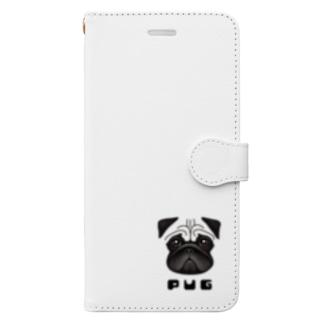 パグ Book style smartphone case