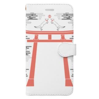 狐の手毬唄 狛狐 Book-style smartphone case