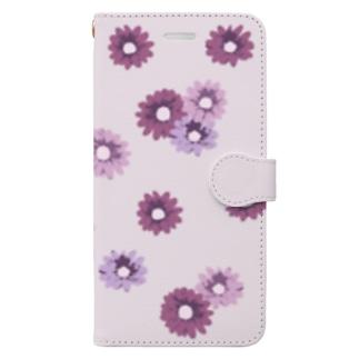 ピンクの花柄 Book-style smartphone case