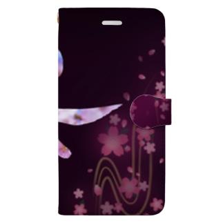 桜 sakura 書道アート Calligraphy Art Book-style smartphone case