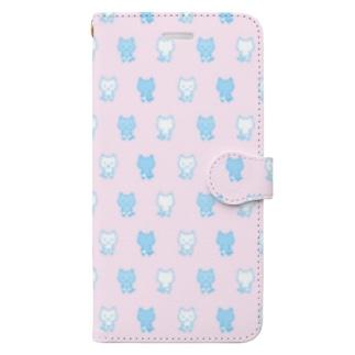 ねこぱんつ柄ピンクと水色 Book-style smartphone case