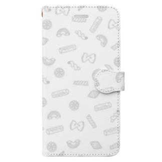 パスタ! 白 小柄 Book-style smartphone case