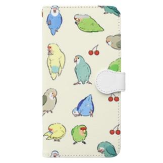 コザクラインコとさくらんぼ Book-style smartphone case