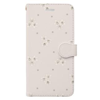 小花柄 ベージュ Book-style smartphone case