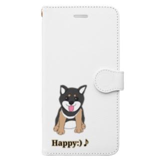 うるうる黒柴犬ちゃん 英語ロゴ Book style smartphone case