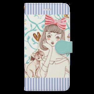トシダナルホの頬杖ガールと猫 Book-style smartphone case