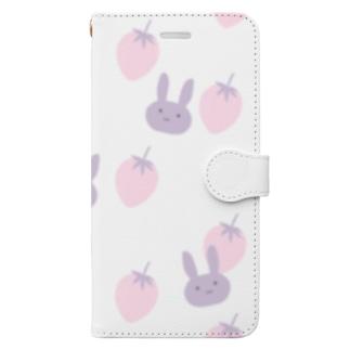 うさぎといちご Book style smartphone case