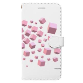 ピンクボックス散乱 Book-style smartphone case