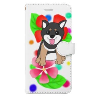 花と黒柴ちゃんⅠ Book-style smartphone case