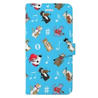 にゃんこの音楽隊PART2〈ブルー〉 Book-style smartphone case