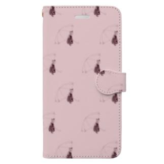梅雨とねこ(桃) Book-style smartphone case